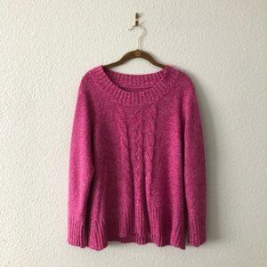 Pink Cable Knit Cozy Sweater Plus Size by avenue